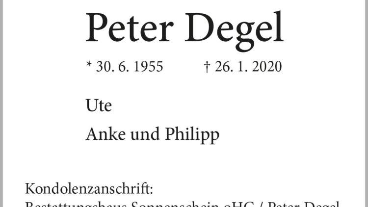 Peter Degel † 26. 1. 2020