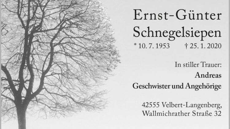 Ernst-Günter Schnegelsiepen † 25. 1. 2020