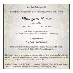 Hildegard Henze † 31. 12. 2019