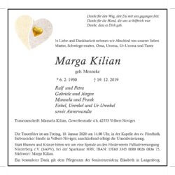 Marga Kilian † 19. 12. 2019