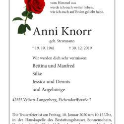 Anni Knorr † 30. 12. 2019