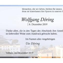 Wolfgang Döring -Danksagung-