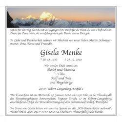 Gisela Menke † 28. 12. 2019