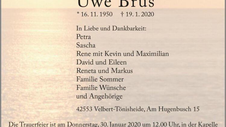 Uwe Brus † 19. 1. 2020