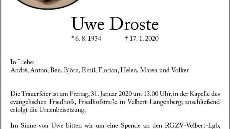 Uwe Droste † 17. 1. 2020