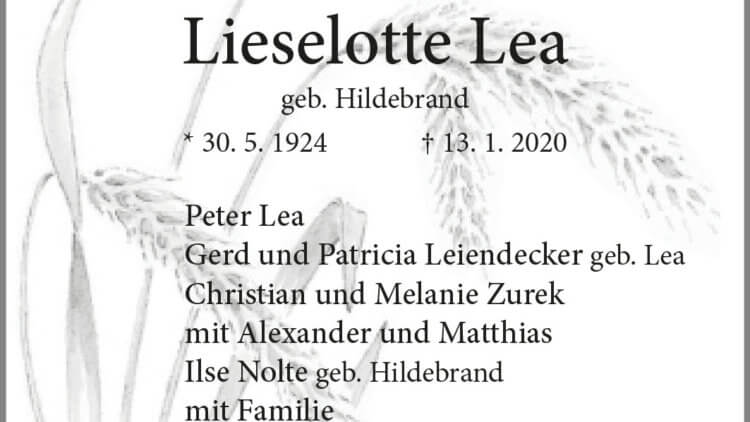 Lieselotte Lea † 13. 1. 2020