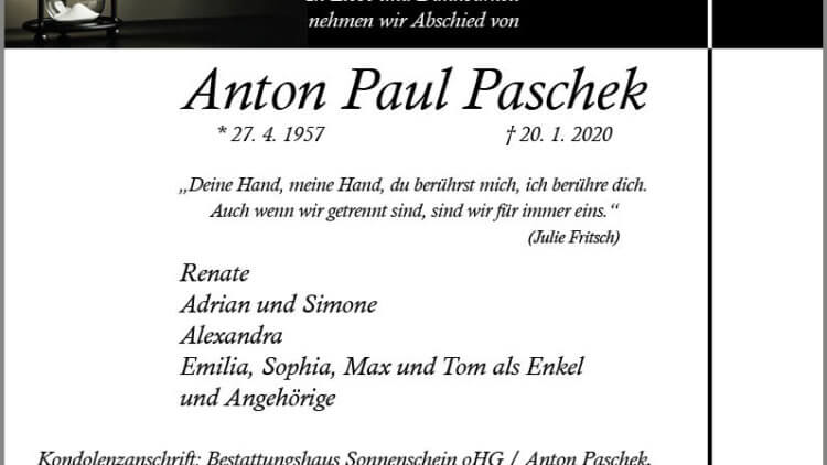 Anton Paul Paschek † 20. 1. 2020