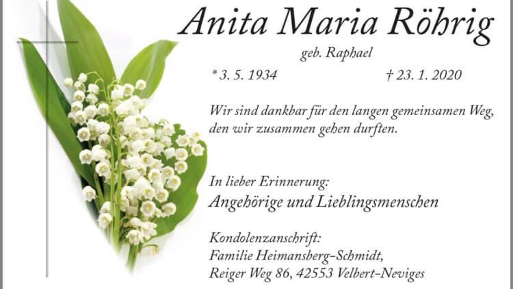 Anita Maria Röhrig † 23. 1. 2020