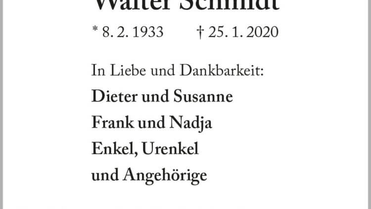 Walter Schmidt † 25. 1. 2020