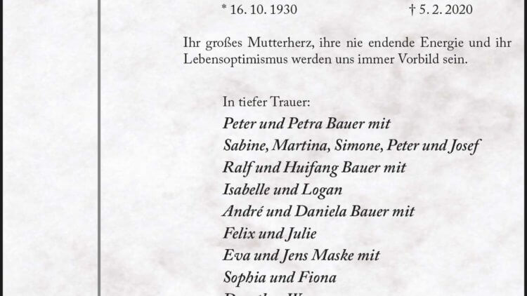 Theresia Bauer † 5. 2. 2020