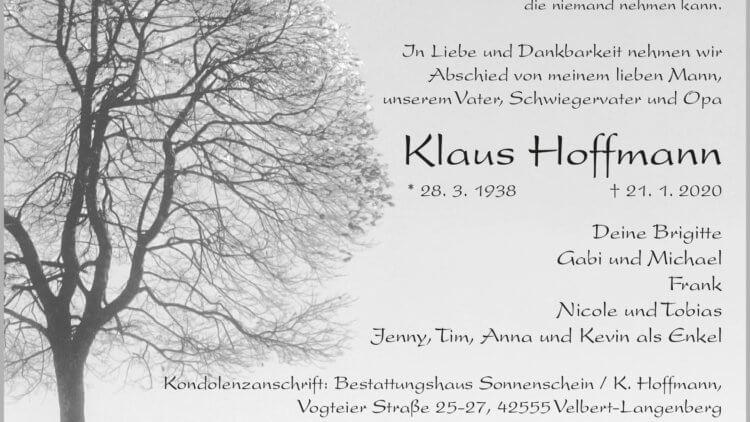 Klaus Hoffmann † 21. 1. 2020