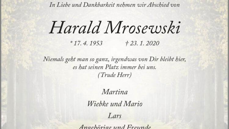 Harald Mrosewski † 23. 1. 2020