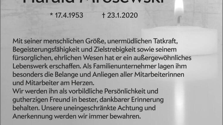 Harald Mrosewski † 23. 1. 2020 -FIRMA-