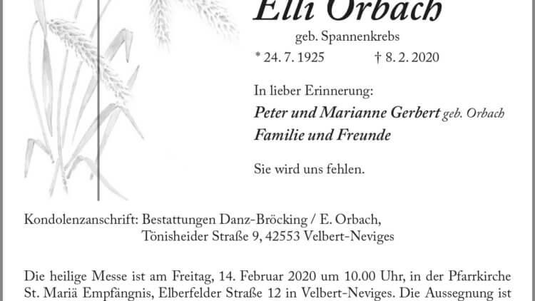 Elli Orbach † 8. 2. 2020