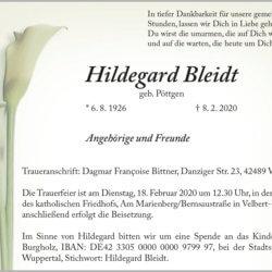 Hildegard Bleidt † 8. 2. 2020