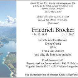 Friedrich Bröcker † 1. 1. 2020