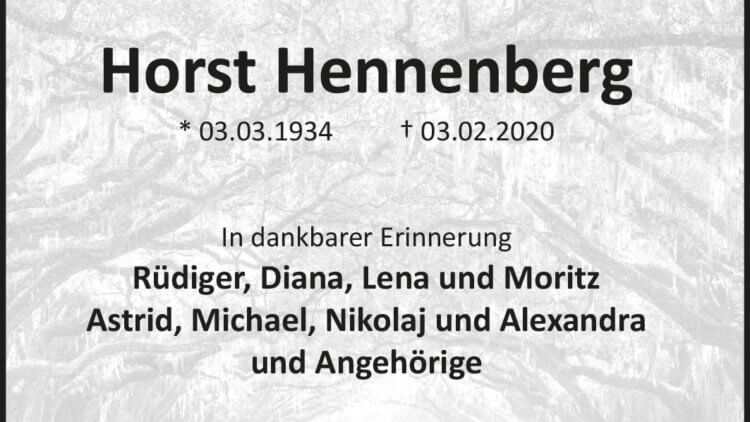 Horst Hennenberg † 3. 2. 2020