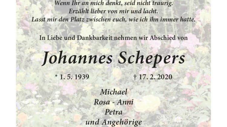Johannes Schepers † 17. 2. 2020