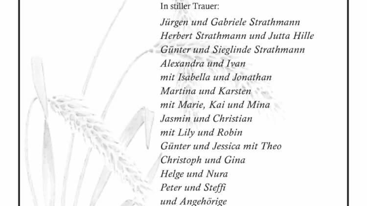 Maria Strathmann † 17. 2. 2020
