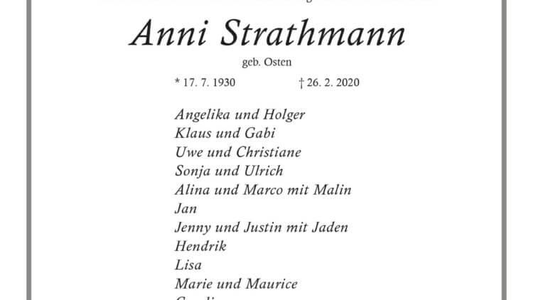 Anni Strathmann † 26. 2. 2020