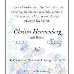 Christa Hennenberg † 22. 2. 2020