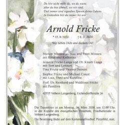 Arnold Fricke † 8. 3. 2020
