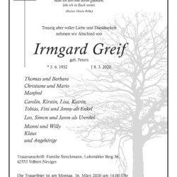 Irmgard Greif † 8. 3. 2020
