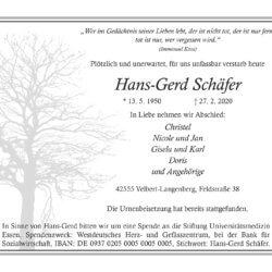 Hans-Gerd Schäfer † 27. 2. 2020