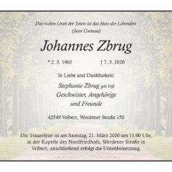 Johannes Zbrug † 7. 3. 2020