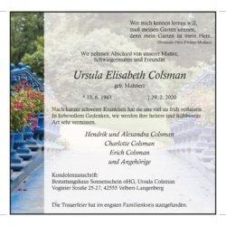 Ursula Elisabeth Colsman † 29. 2. 2020