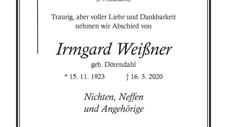 Irmgard Weißner † 16. 3. 2020