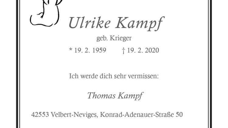Ulrike Kampf † 19. 2. 2020