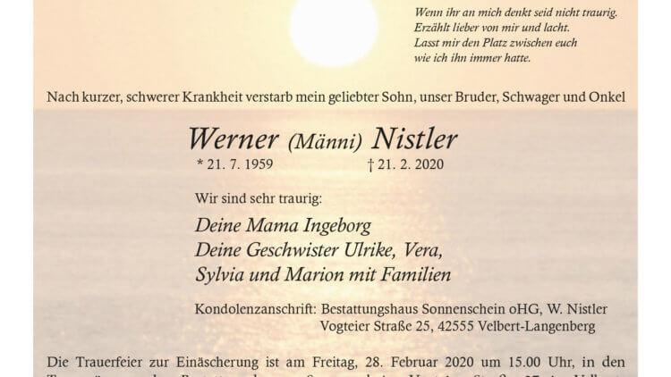 Werner Nistler † 21. 2. 2020