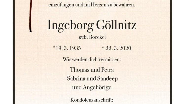 Ingeborg Göllnitz † 22. 3. 2020