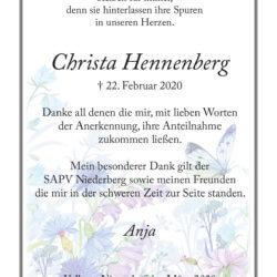 Christa Hennenberg -Danksagung-