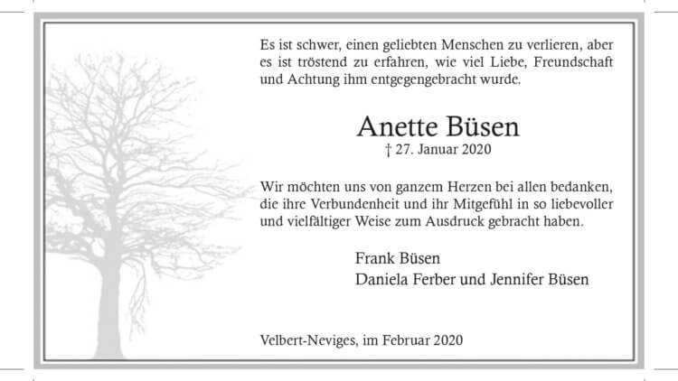 Anette Büsen -Danksagung-