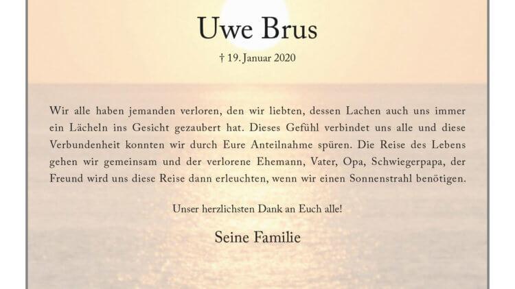 Uwe Brus -Danksagung-