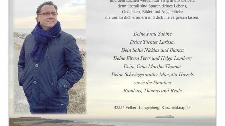Thomas Lomberg † 21. 2. 2020