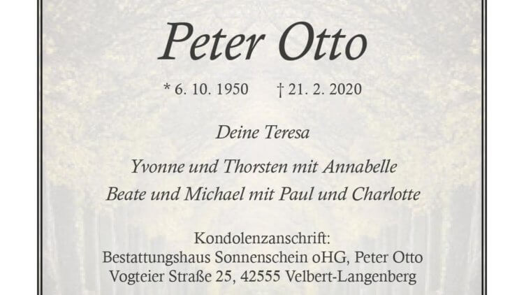 Peter Otto † 21. 2. 2020