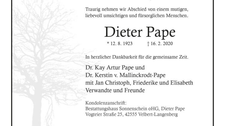 Dieter Papa † 16. 2. 2020