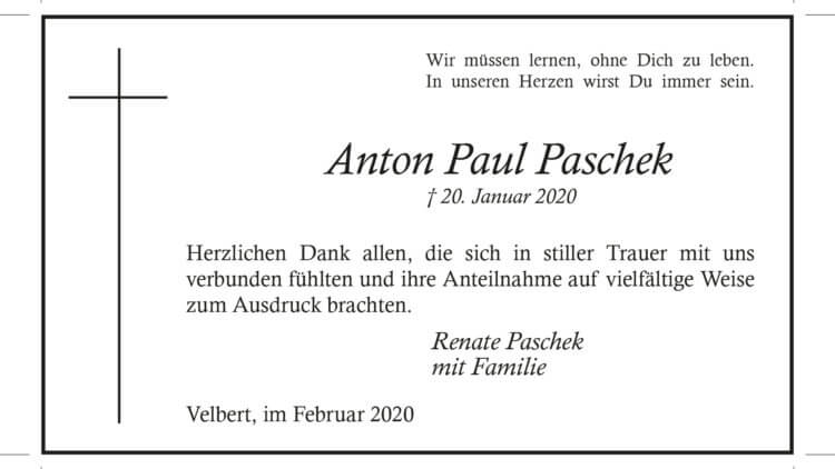 Anton Paul Paschek -Danksagung-