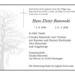 Hans Dieter Banowski †31. 3. 2020
