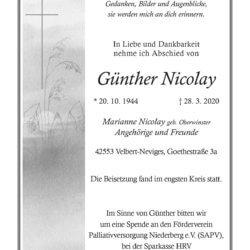 Günther Nicolay † 28. 3. 2020
