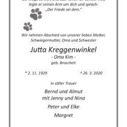 Jutta Kreggenwinkel † 26. 3 2020