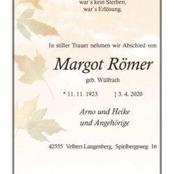 Margot Römer † 3. 4. 2020