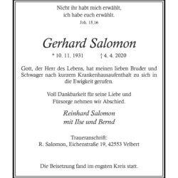 Gerhard Salomon † 4. 4. 2020