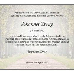 Johannes Zbrug -Danksagung-