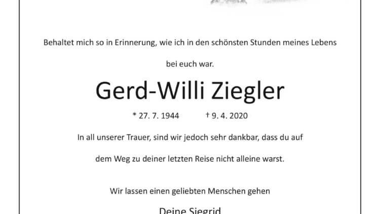 Gerd-Willi Ziegler † 9. 4. 2020