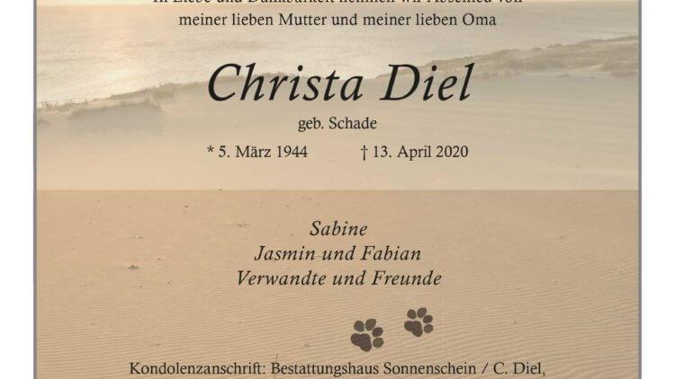 Christa Diel † 13. 4. 2020