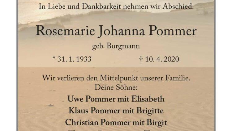 Rosemarie Johanna Pommer † 10. 4. 2020